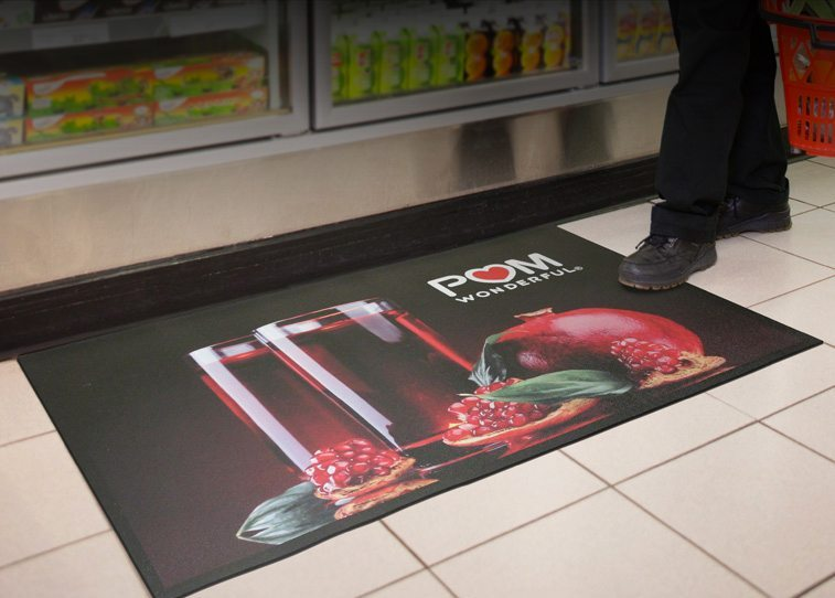 media mat with logo
